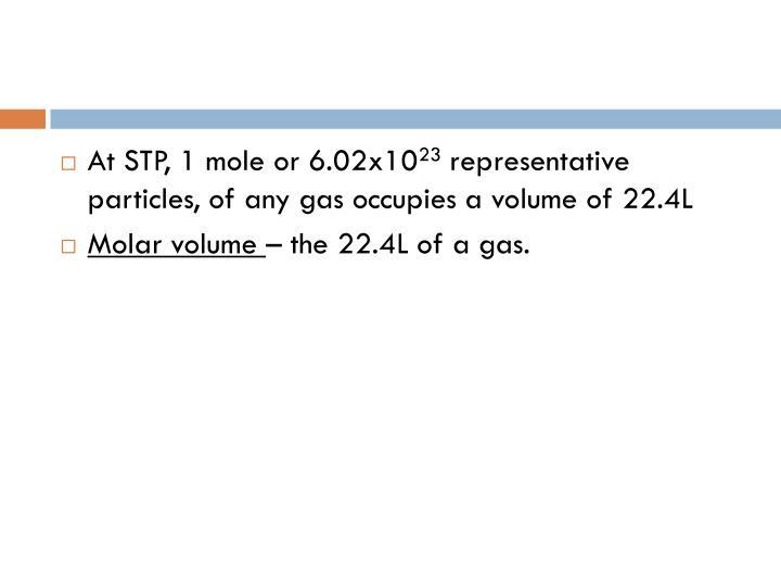 At STP, 1 mole or 6.02x10