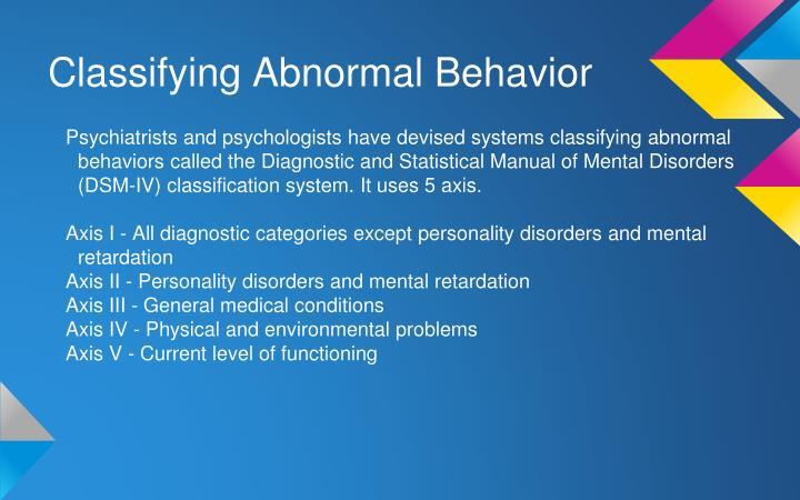 Classifying Abnormal Behavior