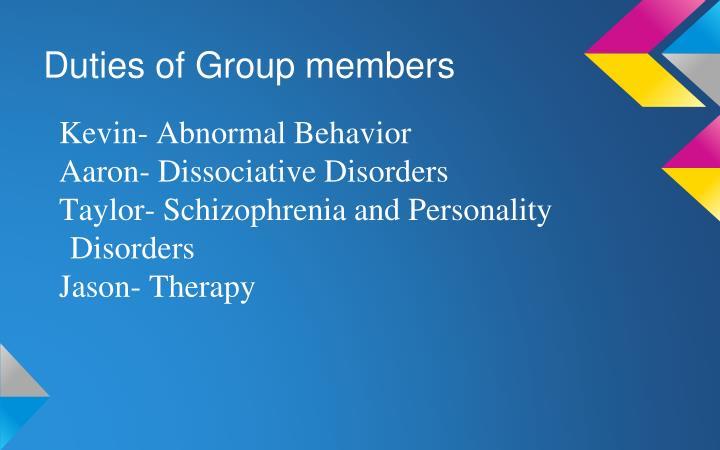 Duties of Group members