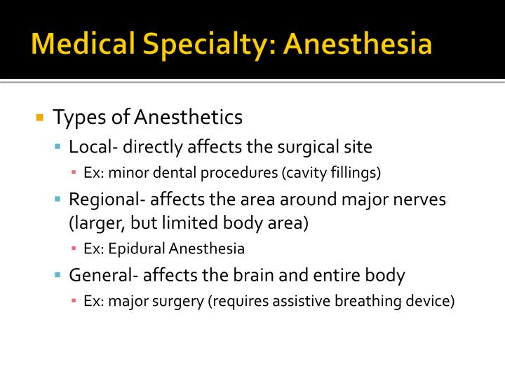 Medical Specialty: Anesthesia