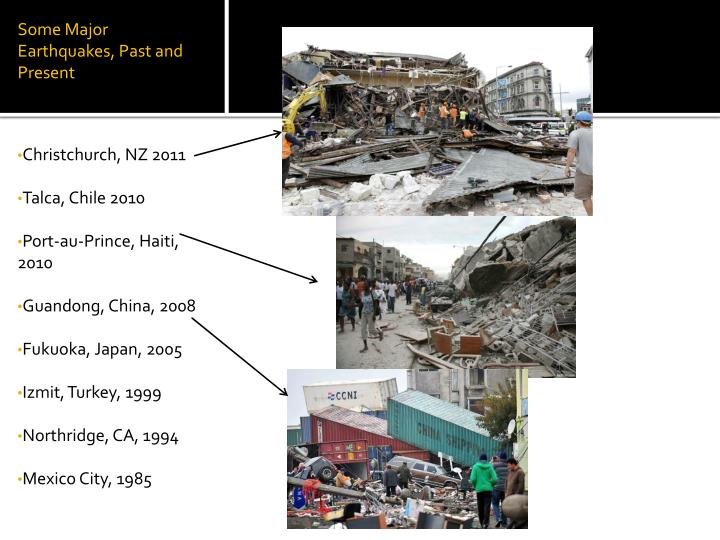 Some Major Earthquakes, Past and Present