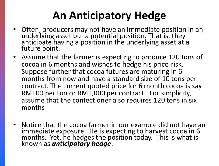 An Anticipatory Hedge