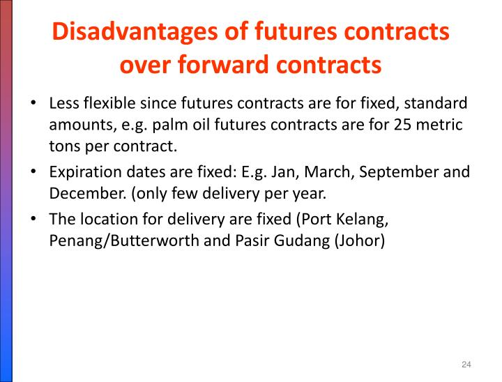 Disadvantages of futures contracts over forward contracts