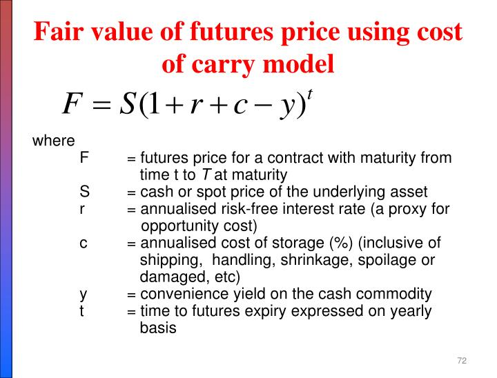Fair value of futures price using cost of carry model