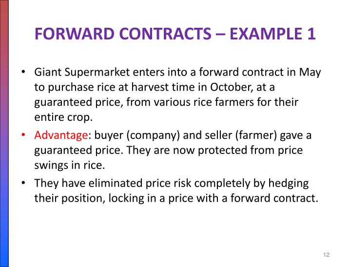 FORWARD CONTRACTS – EXAMPLE 1