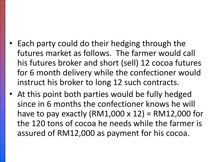 Each party could do their hedging through the futures market as follows.  The farmer would call his futures broker and short (sell) 12 cocoa futures for 6 month delivery while the confectioner would instruct his broker to long 12 such contracts.