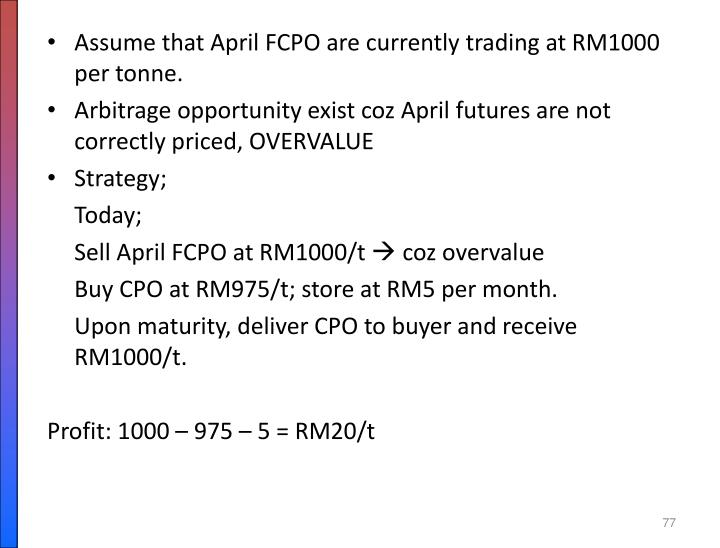 Assume that April FCPO are currently trading at RM1000 per