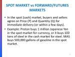 spot market vs forward futures markets