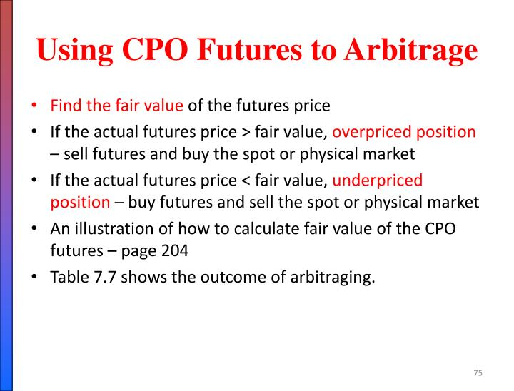 Using CPO Futures to Arbitrage
