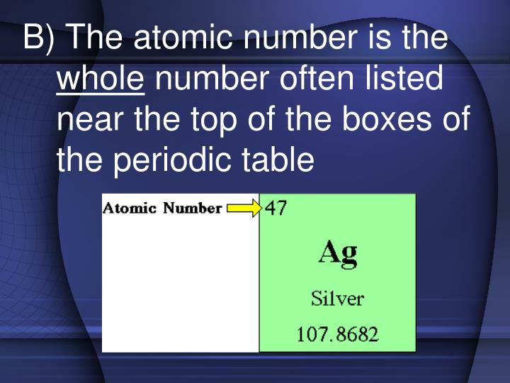 B) The atomic number is the