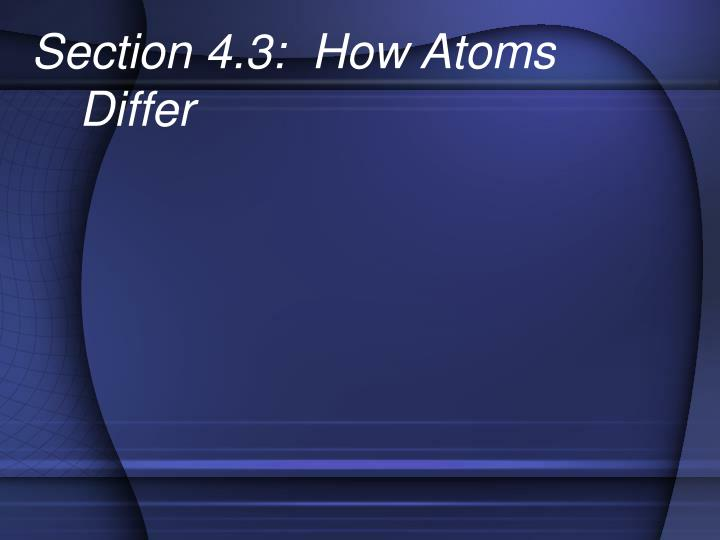 Section 4.3:  How Atoms Differ