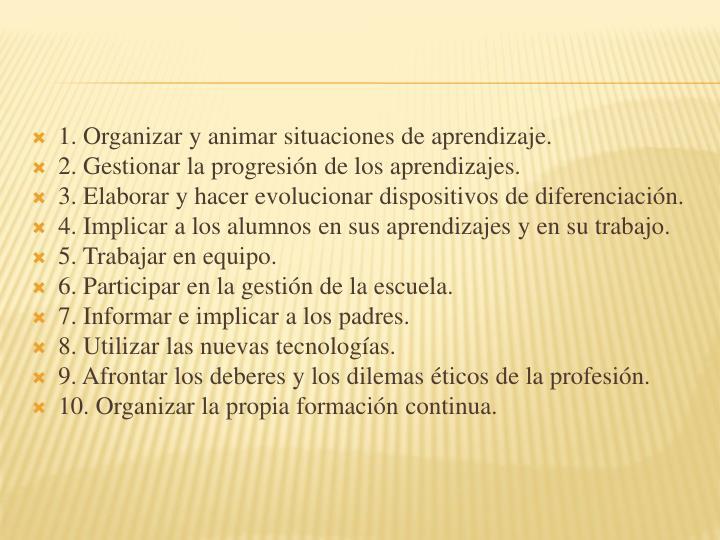 1. Organizar y animar situaciones de aprendizaje.