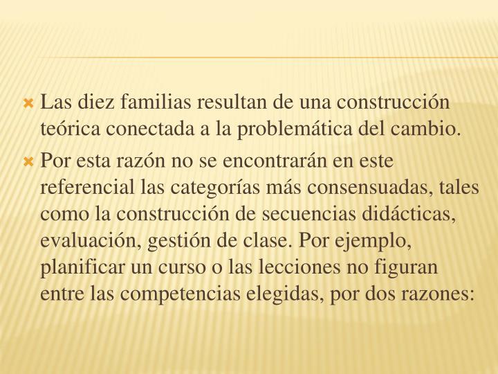 Las diez familias resultan de una construccin terica conectada a la problemtica del cambio.
