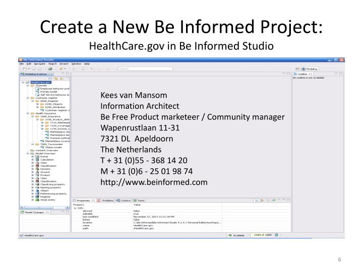 Create a New Be Informed Project: