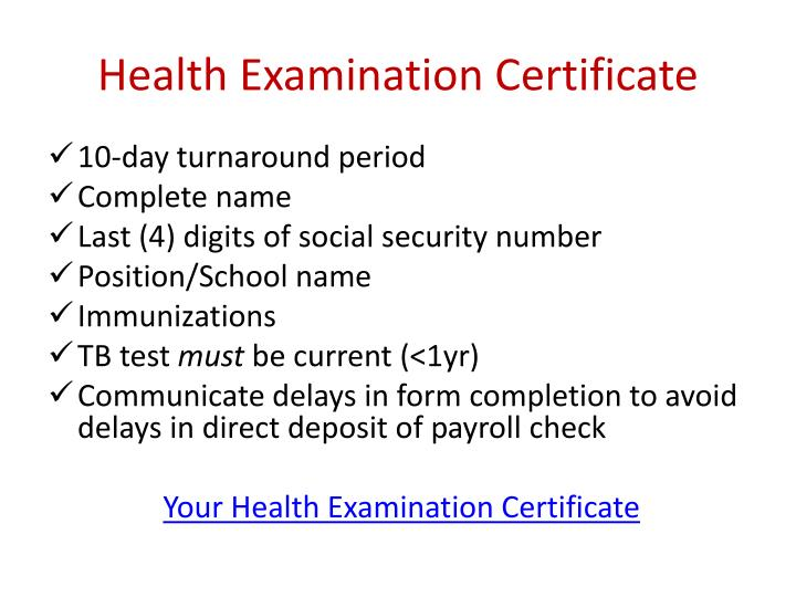 Health Examination Certificate