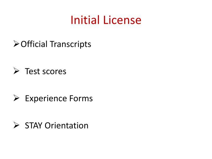 Initial License