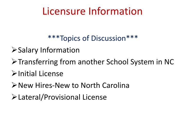 Licensure Information