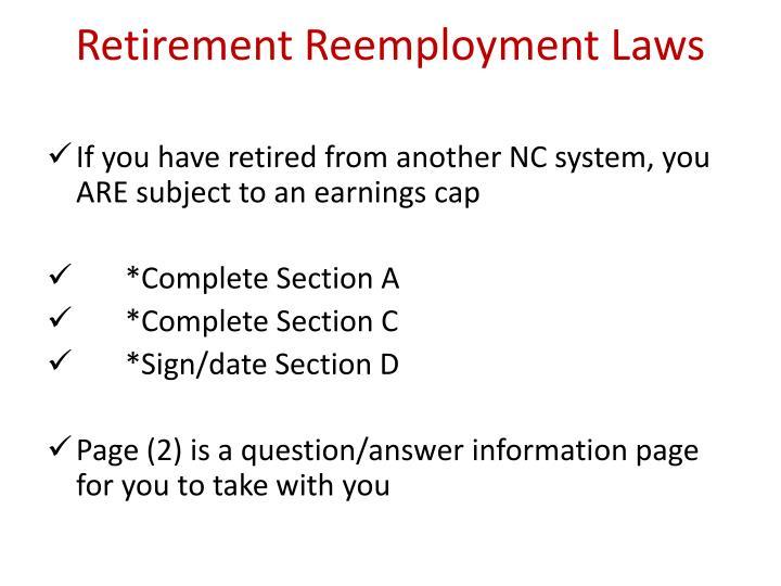 Retirement Reemployment Laws