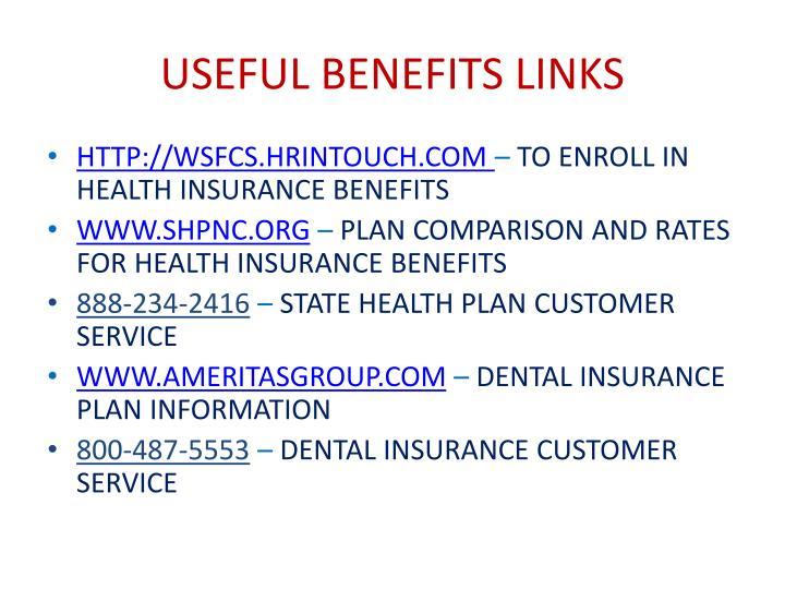 USEFUL BENEFITS LINKS