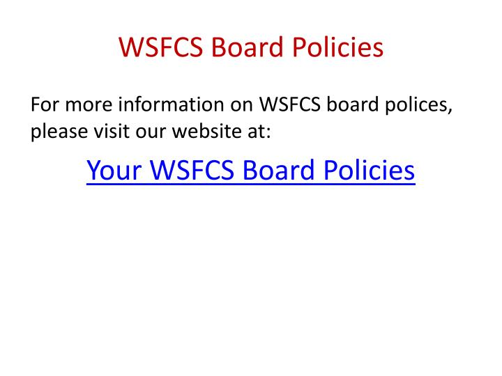 WSFCS Board Policies