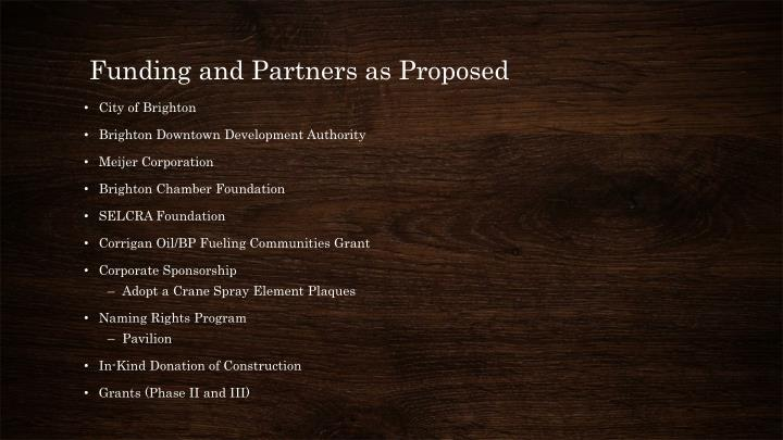 Funding and Partners as Proposed