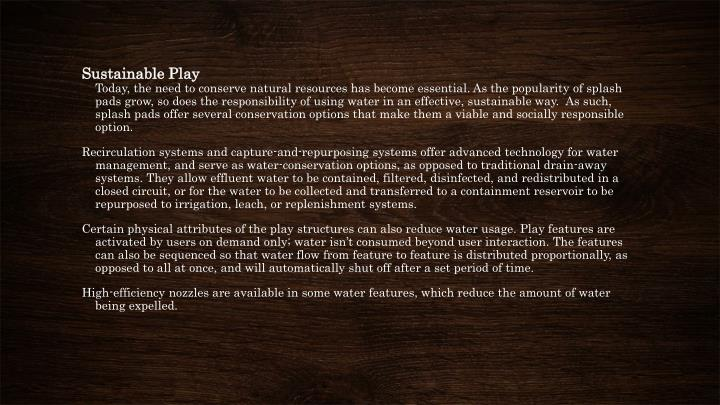 Sustainable Play