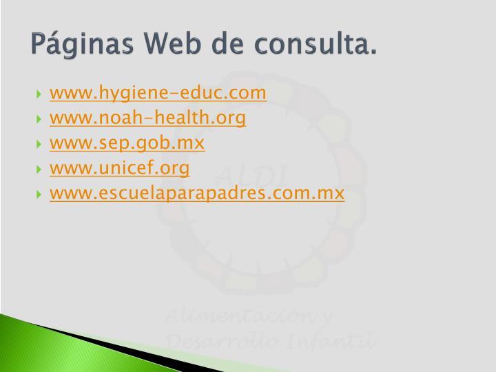 Páginas Web de consulta.