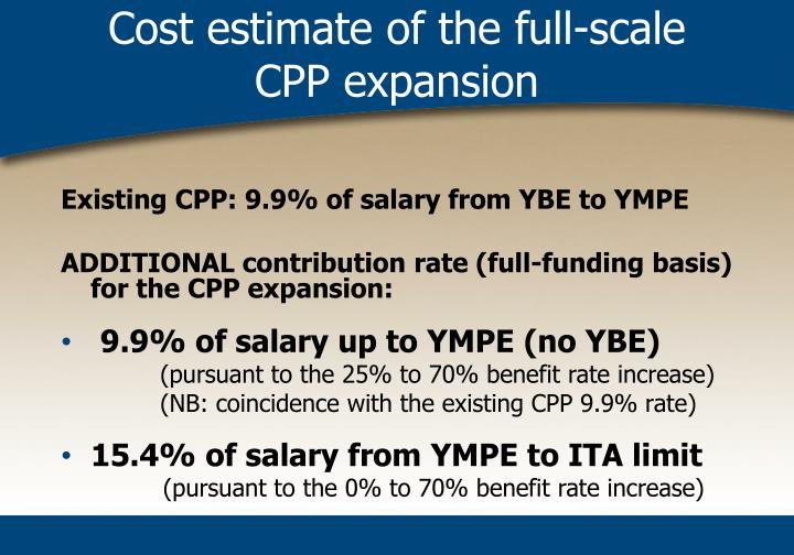 Cost estimate of the full-scale