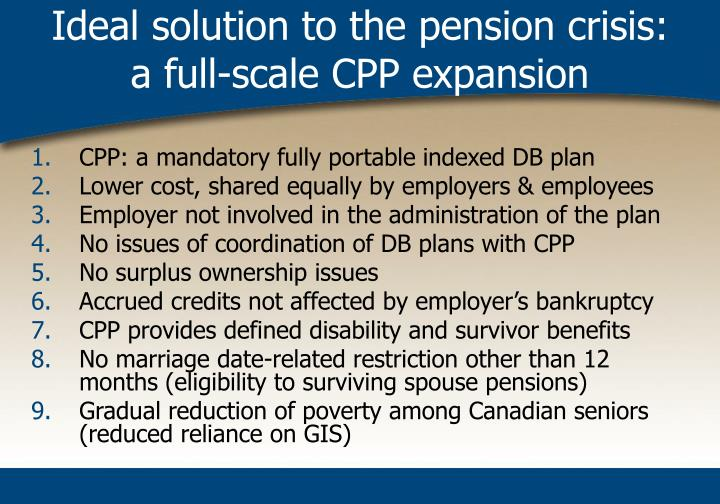Ideal solution to the pension crisis:
