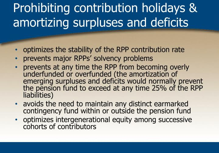 Prohibiting contribution holidays & amortizing surpluses and deficits