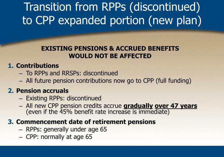 Transition from RPPs (discontinued)