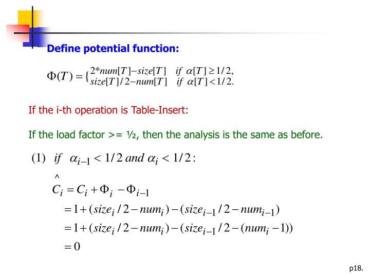 Define potential function: