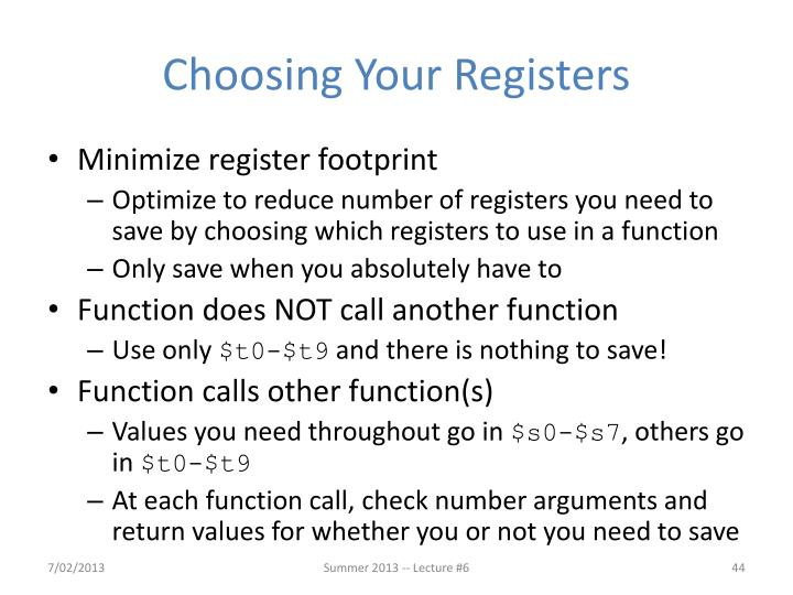 Choosing Your Registers