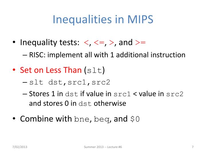Inequalities in MIPS