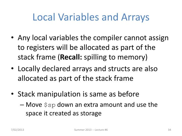 Local Variables and Arrays