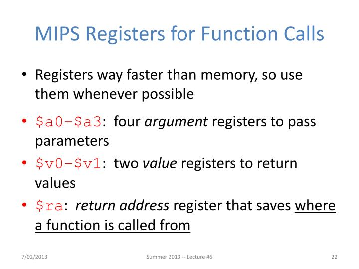 MIPS Registers for Function Calls