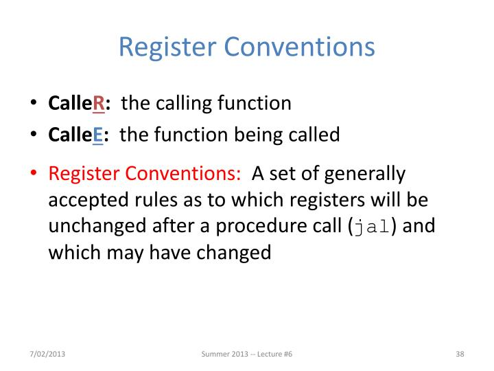 Register Conventions