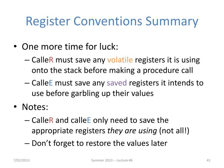 Register Conventions Summary