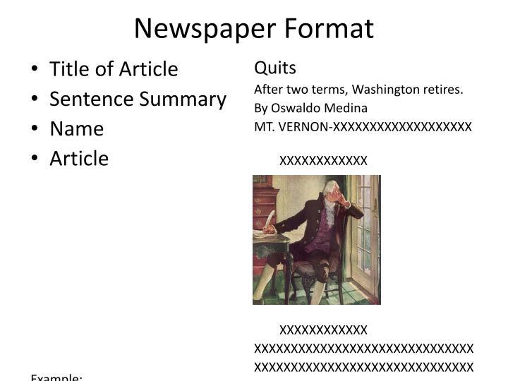 Newspaper Format