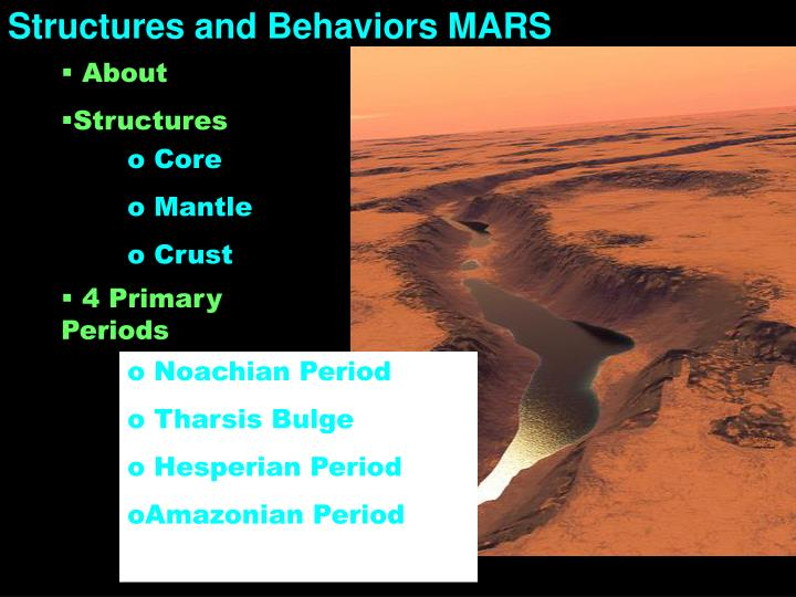 Structures and Behaviors MARS