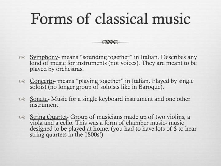 Forms of classical music