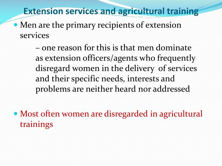 Extension services and agricultural training