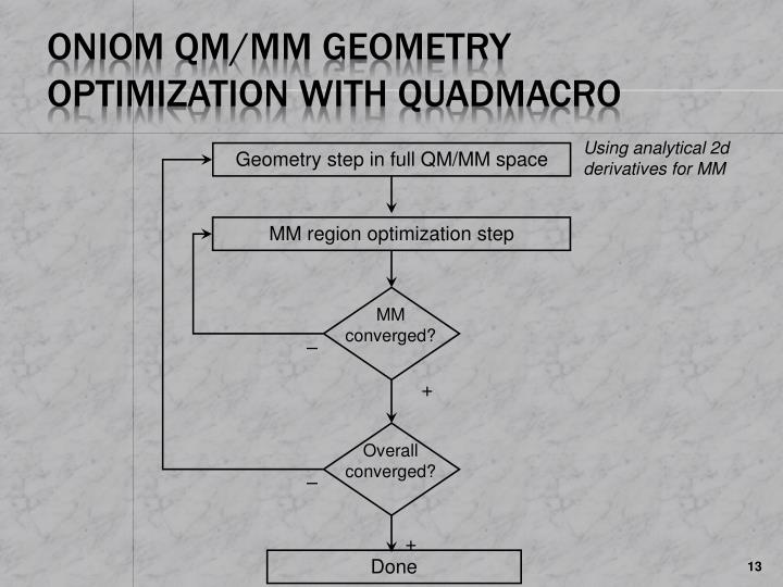 ONIOM QM/MM Geometry Optimization with QuadMacro