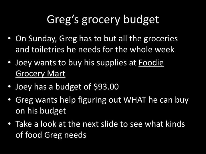 Greg's grocery budget