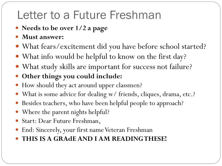 Letter to a Future Freshman