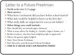 letter to a future freshman