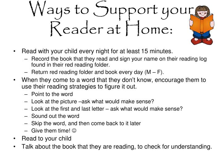Ways to Support your Reader at Home: