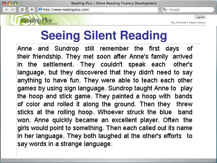 Seeing Silent Reading