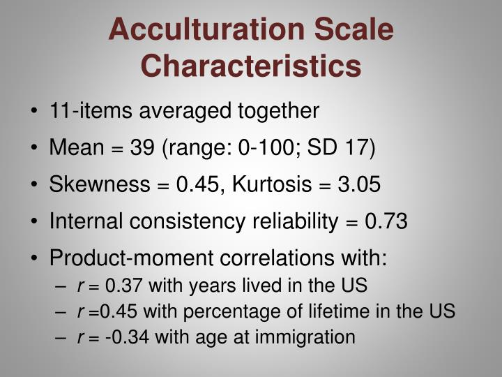 Acculturation Scale Characteristics