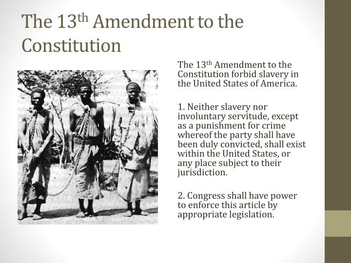 The 13 th amendment to the constitution